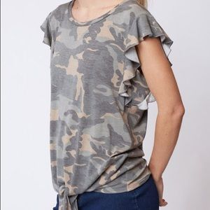 Camo Top ruffle sleeves